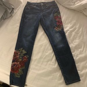 Nine West Embroidered skinny jeans